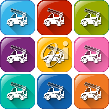 Buttons with mounting vehicles on a white background