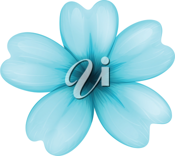 Illustration of a blue five-petal flower on a white background