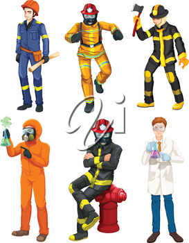Illustration of the men with different professions on a white background