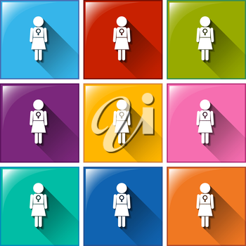 Family planning buttons on a white background