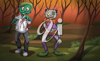 Illustration of a forest with zombies
