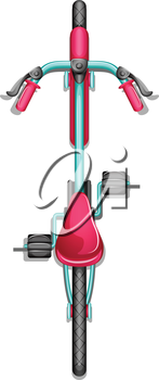Illustration of a topview of a bike on a white background