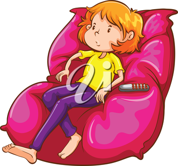 Illustration of a sketch of a lazy girl at the couch on a white background