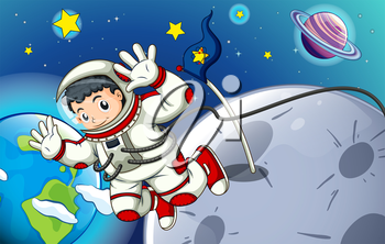 Illustration of a man exploring the outerspace