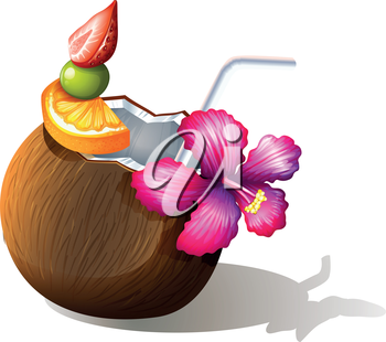 Illustration of a refreshing beach drink on a white background