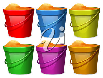 Illustration of the colourful pails with sands on a white background