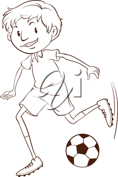 Illustration of a boy playing football