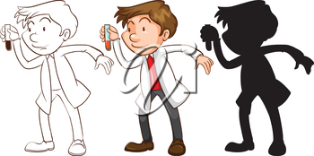 Illustration of the different sketches of a chemist on a white background