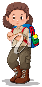 A brunette girl scout character illustration