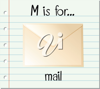 Flashcard letter M is for mail illustration