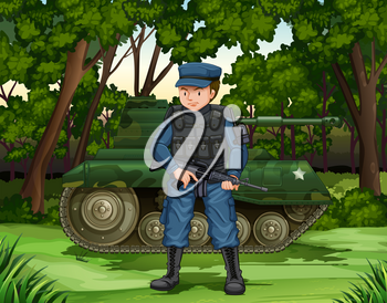 Soldier with gun by the tank illustration