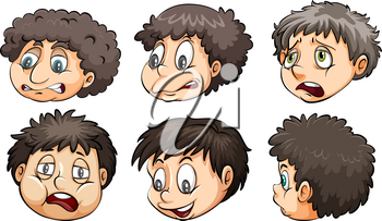 Faces with different expressions on a white background