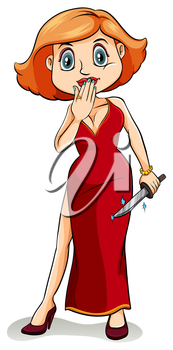 An idiom showing a lady wearing a dress to kill on a white background