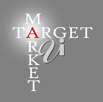 Target and market isolated over grey, business concept