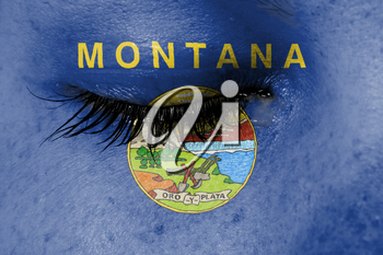 Crying woman, pain and grief concept, flag of Montana