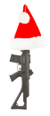 Weapon (firearm) concealed in santas hat, isolated on canvas