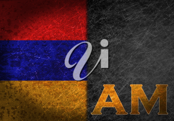 Old rusty metal sign with a flag and country abbreviation - Armenia