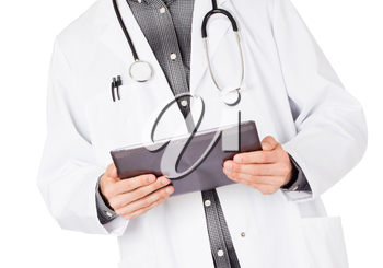 Doctor holding blank digital tablet with copy space and clipping path for the screen