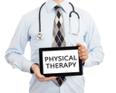 Doctor, isolated on white backgroun,  holding digital tablet - Physical therapy
