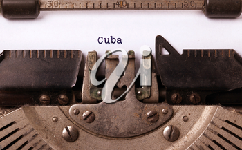 Inscription made by vinrage typewriter, country, Cuba