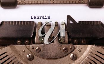 Inscription made by vinrage typewriter, country, Bahrain