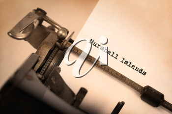 Inscription made by vintage typewriter, country, Marshall Islands