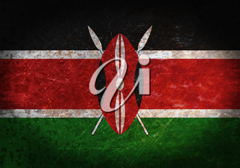 Old rusty metal sign with a flag - Kenya