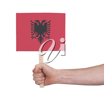 Hand holding small card, isolated on white - Flag of Albania