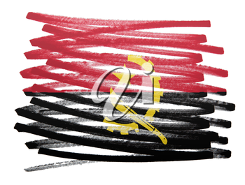 Flag illustration made with pen - Angola