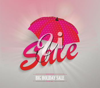 3d red text SALE with pink umbrella, vector illustration