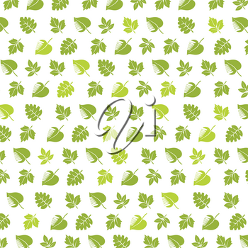 Spring background with green leaves, vector illustration.