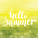 Hello summer hand lettering background