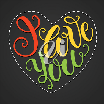 I love you doodle heart shaped hand lettering. Romantic background. Greeting card design template. Can be used for website background, poster, printing, banner. Vector illustration
