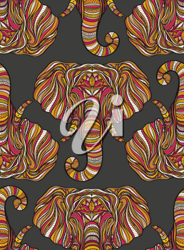 Stylized ethnic boho elephant seamless pattern. Decorative hand drawn doodle vector illustration