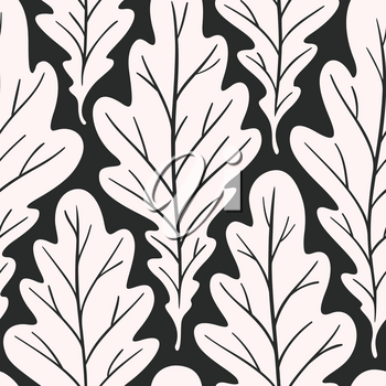 Stylized colorful silhouette oak leaves seamless pattern. Nature universal textures. Hand drawn decorative floral ornamental background. Vector illustration