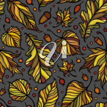 Falling leaves colorful vector illustration. Decorative autumn leaves beautiful seamless pattern. Hand drawn organic lines collecton isolated on white background