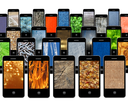 modern mobile phones with different images of texture