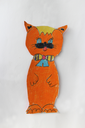 children's drawing with beautiful red cat cut out on the paper