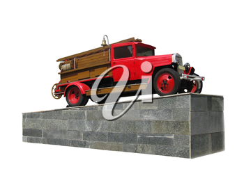 image of retro fire-engine pedestal isolated on a white background