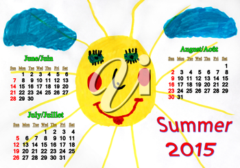 calendar for summer of 2015 with children's drawing with funny sun and clouds