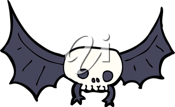 Royalty Free Clipart Image of a Spooky Skull Bat