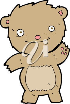 Royalty Free Clipart Image of a Waving Teddy Bear