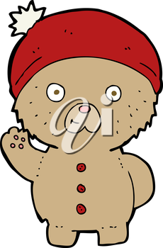 Royalty Free Clipart Image of a Teddy Bear Waving
