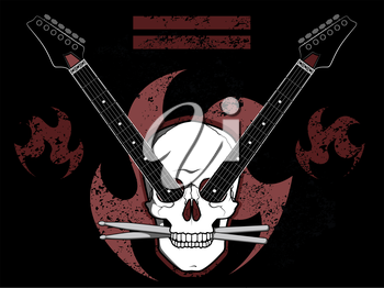 Skull background with guitars and drum sticks