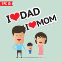 Cartoon Happy family - Vector illustration - EPS10