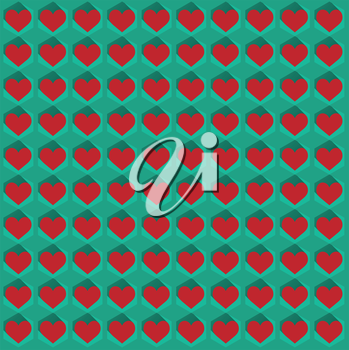 Hearts in flat icon style with long shadows. Abstract seamless pattern. Vector illustration.