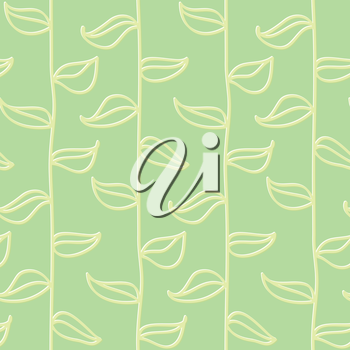 Leaves seamless pattern in vintage style, cute