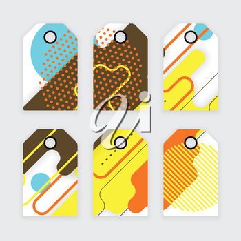 Paper tags design, vector abstract concept with rounded corners