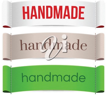 Handmade labels. Isolated vector illustration on white background.