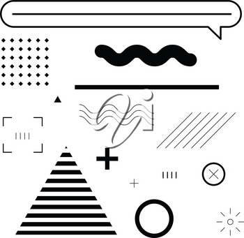 Set of Memphis Style Elements. Modern Abstract Element for Pattern, Banner, Background, Website, Application. Black and White Vector Elements